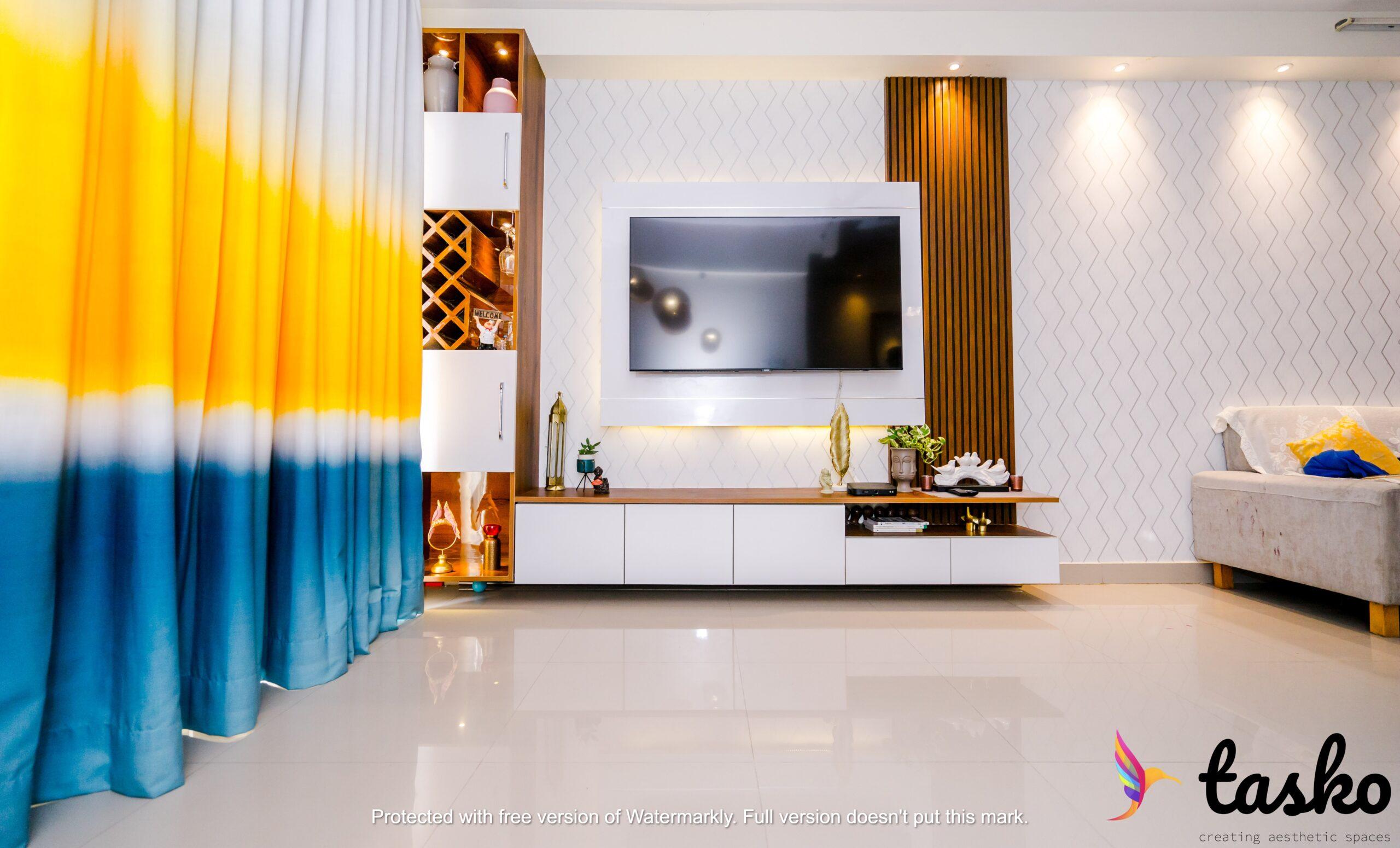 living room interiors in Pbel city, hyderabad